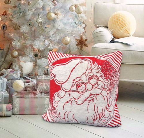 CHRISTMAS THEMED FESTIVE XMAS DESIGN CUSHION COVER SANTA RED WHITE
